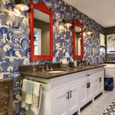 Asian Master Bathroom With Chinoiserie Wallpaper
