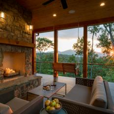 Porch With Stone Fireplace and Mountain View