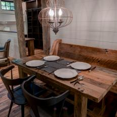Country Dining Room With Wood Bench