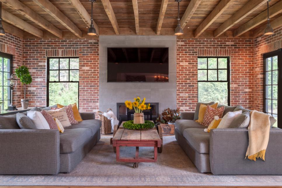 Stylish Living Room with Exposed Brick