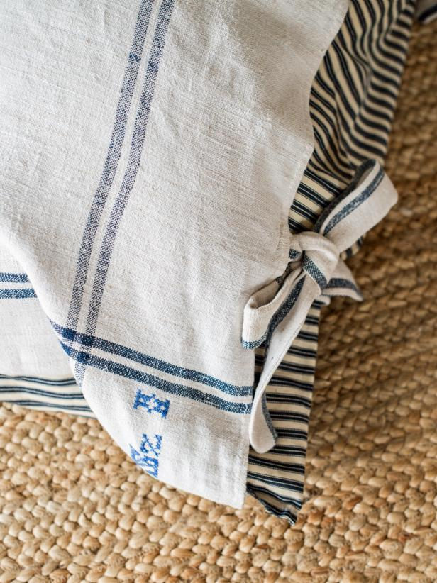 Make these ties for the pillow cover or skip this step of the project and opt for ribbons.
