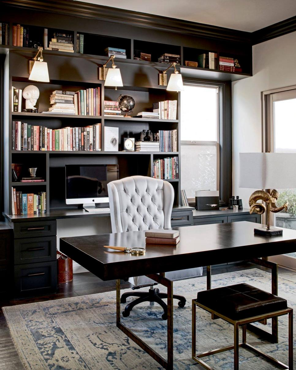 Home Office With Gray Rug