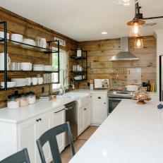Natural Wood Country Kitchen With Bright, White Cabinetry And Industrial Open  Shelving