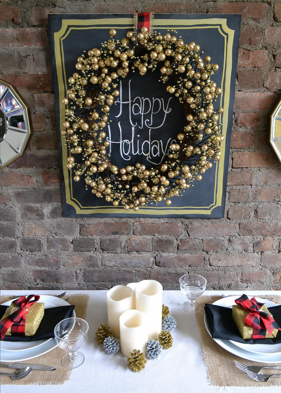 Small Holiday Tablescape with Gold Berry Wreath