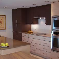 Brown Open Plan Kitchen With Column