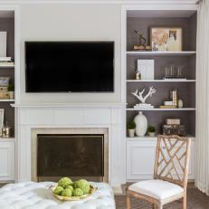TV, Fireplace and Built-In Bookshelves