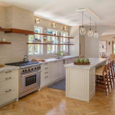Neutral Contemporary Kitchen With Herringbone Floor