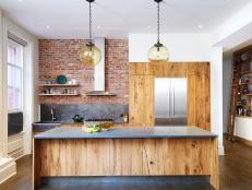 Contemporary Open Kitchen With Globe Pendants