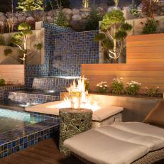 Modern Contemporary Backyard With Mosaic Tile Water Feature