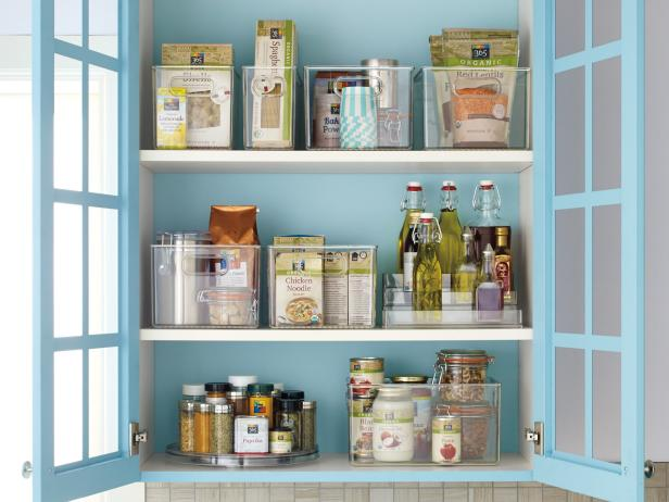 Clear Bins Keep Items Visible in Pantry