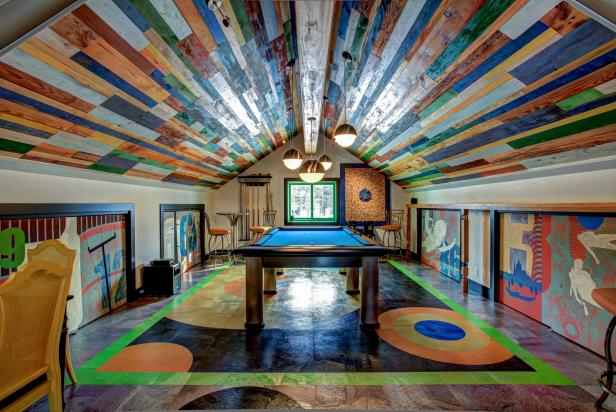 Colorful Garage Converted Into Billiards Room