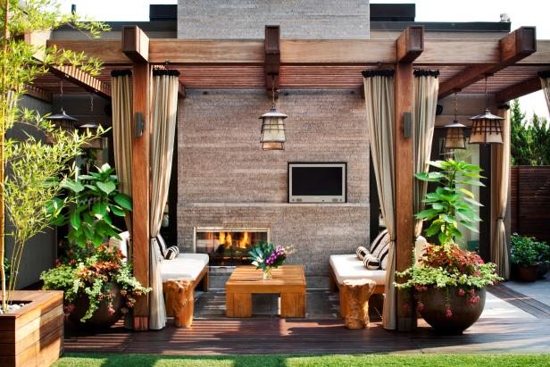 Asian-Inspired Outdoor Area With Fireplace