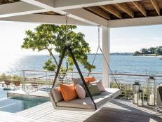 Porch Swing Under Covered Deck With Spectacular View