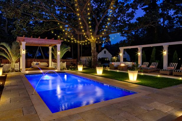 Pool and Outdoor Space with Lighting