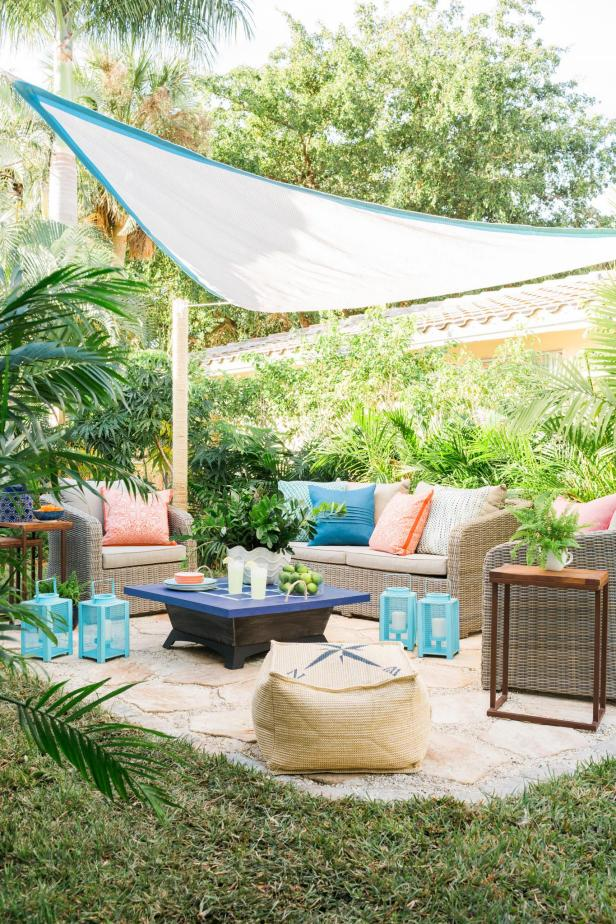 Transform a too hot, over-exposed patio or deck into a shady, relaxation zone with this sophisticated DIY sail shade. Just a few thoughtful details can take this project from looking strictly functional to stylishly designed.