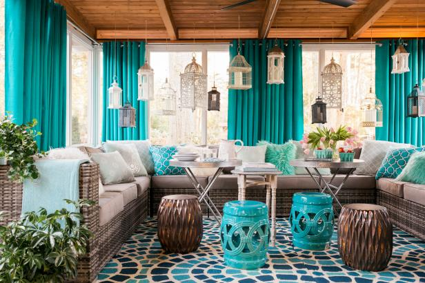 HGTV Spring House 2016: Lovely Screened Porch With Bright Drapery