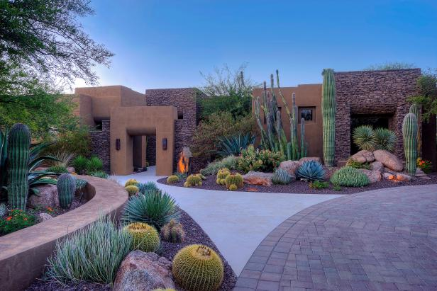 Large-Specimen Cacti Support Home's Bold Architecture