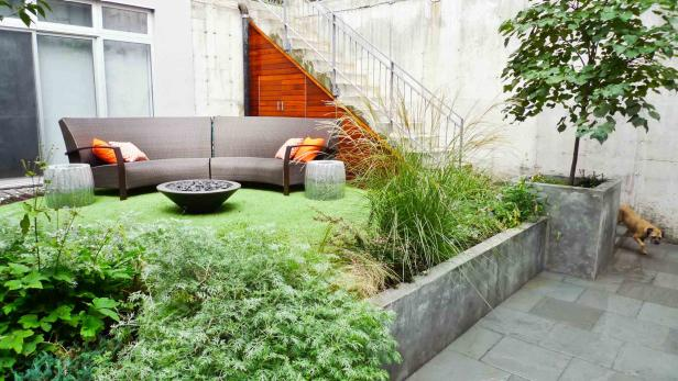 Modern Garden with Cement Planter, Bluestone and Seating