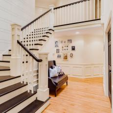 Brown and White Stairway