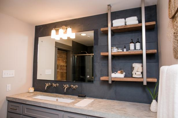 Modern Light Fixture And Open Shelving In Master Bathroom