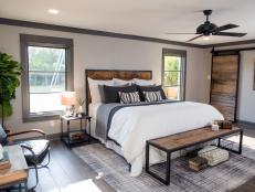 Neutral Master Bedroom with Warm Wood Accents