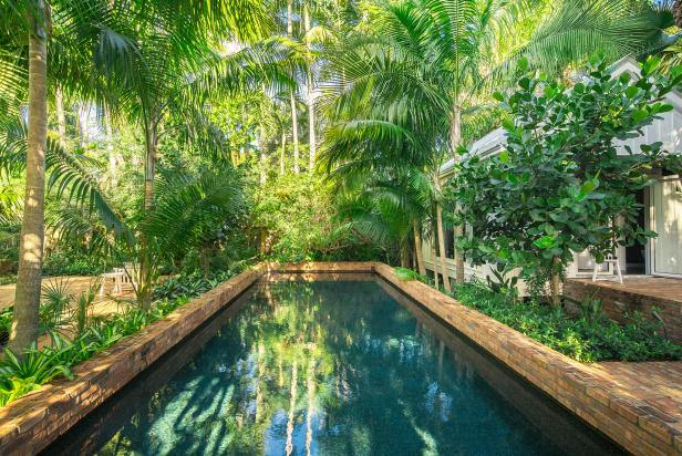 Brick Swimming Pool and Tropical Plants