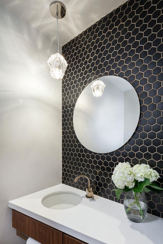 Black and White Contemporary Powder Bathroom With Crystal Pendant