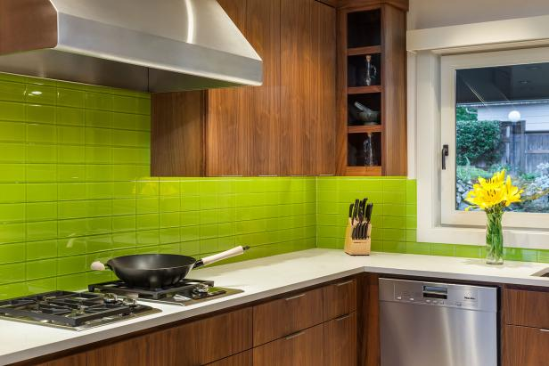 Modern Kitchen With Green Tile Backsplash