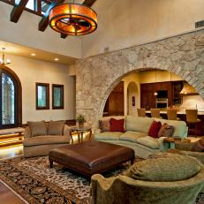 Neutral Tuscan-Inspired Living Room