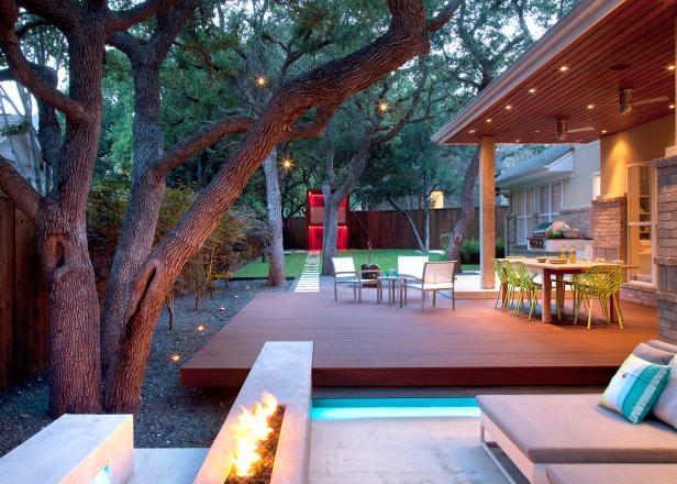 Outdoor Living Space Complements the Home and Existing Landscape