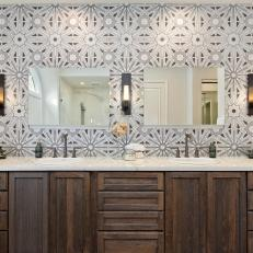 Ann Sacks Lux Tile Balances Dark Wood Double Vanity in Master Bathroom