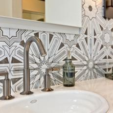 Ann Sacks Lux Tile Complements Silver Fixtures in Master Bathroom