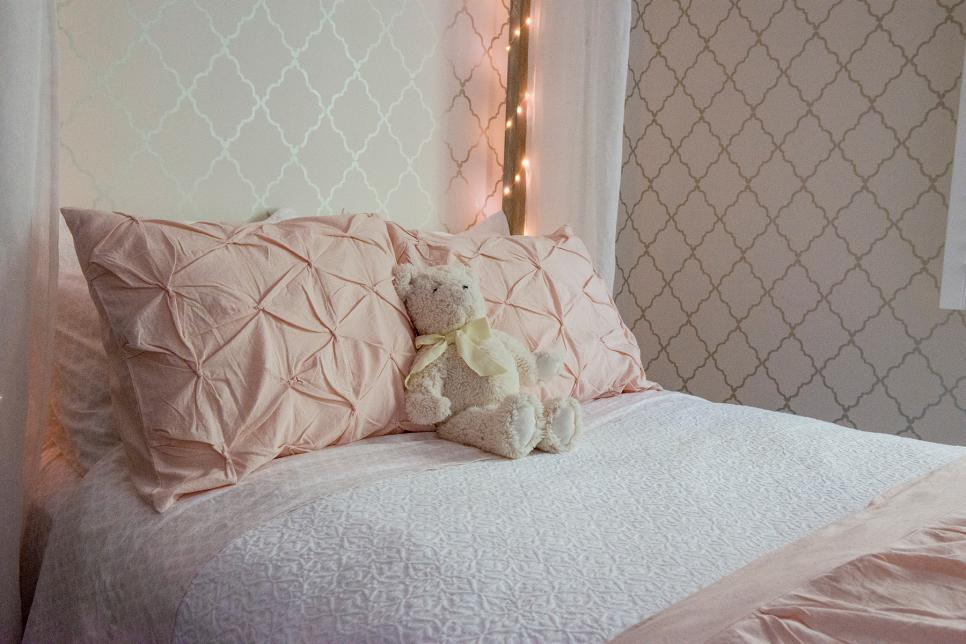 Pink Throw Pillows and Teddy Bear