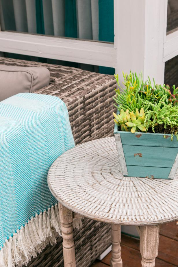 HGTV Spring House 2016 Lightweight Metal Table in Patio Sitting Area