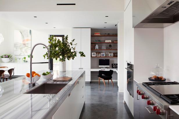 White and Gray Kitchen With Office and Stainless Steel Appliances