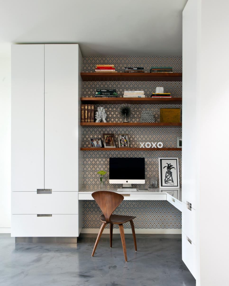 White and Gray Home Office With Geometric Wallpaper
