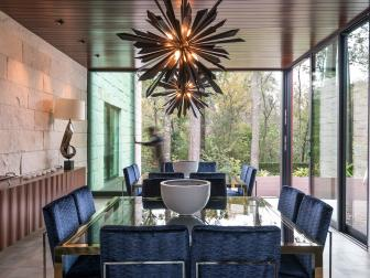 Midcentury Modern Dining Room With Starburst Chandeliers