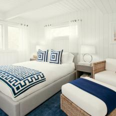 Navy Accents Make Master Bedroom Warm and Inviting