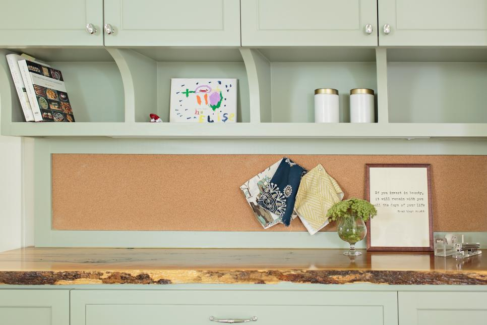 Built-In Desk With Live-Edge Wood Countertop