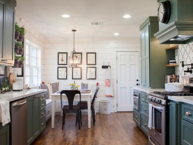 White Shiplap and Sage Green Cabinetry in Country Kitchen With Bench Seating Breakfast Nook