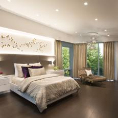 Neutral Contemporary Master Bedroom With Wood Floor