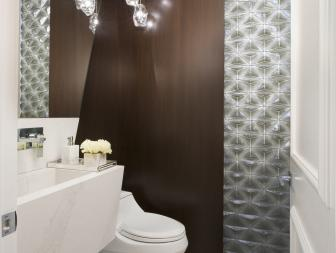 White Art Deco Powder Room With Silver Wall