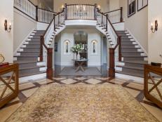 Neutral Traditional Foyer With Two Staircases