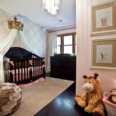Brown and Pink Girl's Nursery With Crown