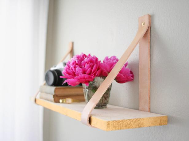 Blogger DIY Leather Strap Shelf