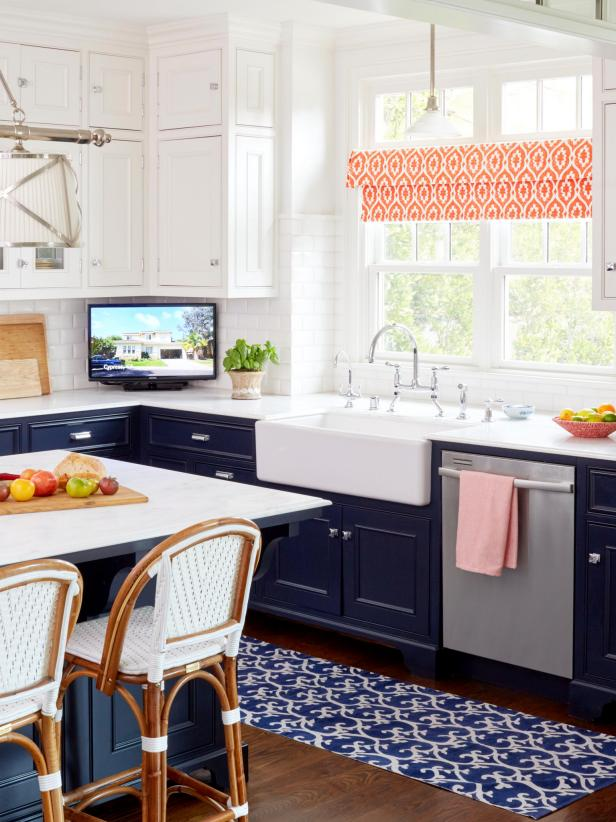 Navy Kitchen Cabinets And White Sink