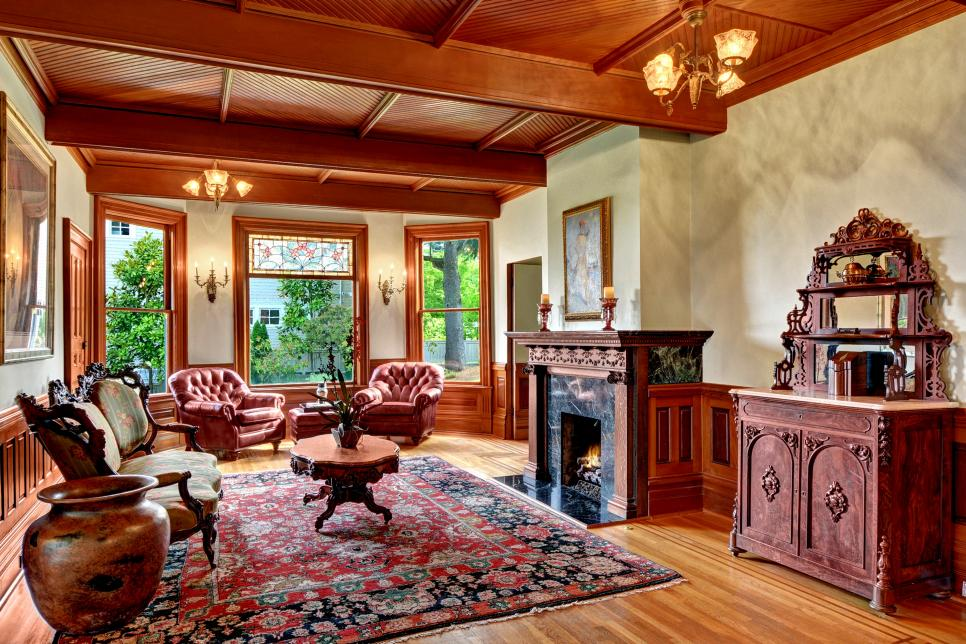 Victorian Living Room With Fireplace Hgtv