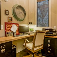 Country Home Office With Corner Desk and Eclectic Elements
