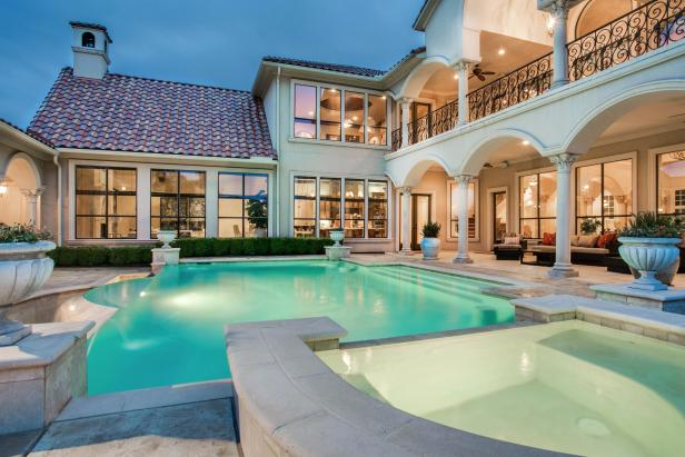 Mediterranean Style Swimming Pool And Patio