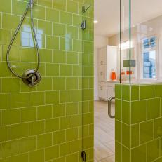 Glass Enclosed Shower With Lime Green Tiles
